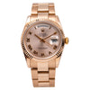 18K Rose Gold Rolex Day-Date 118235 36mm Pink Champagne with Roman Numerals Dial