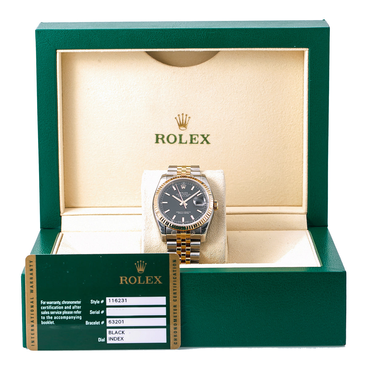 Rolex Datejust 116231 36MM Black Dial With Two Tone Bracelet
