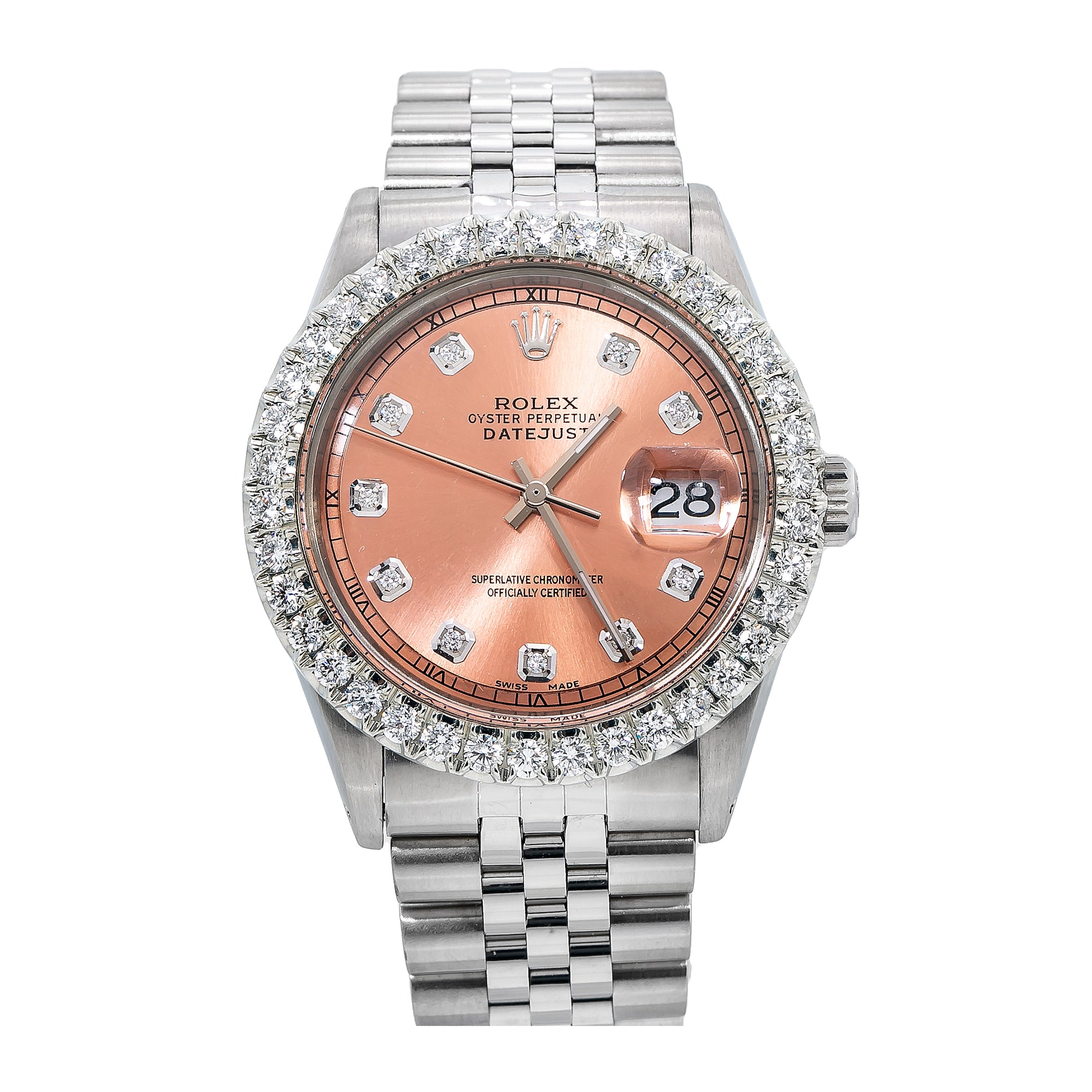 Rolex Datejust 1601 36MM Pink Diamond Dial With 2.75 CT Diamonds