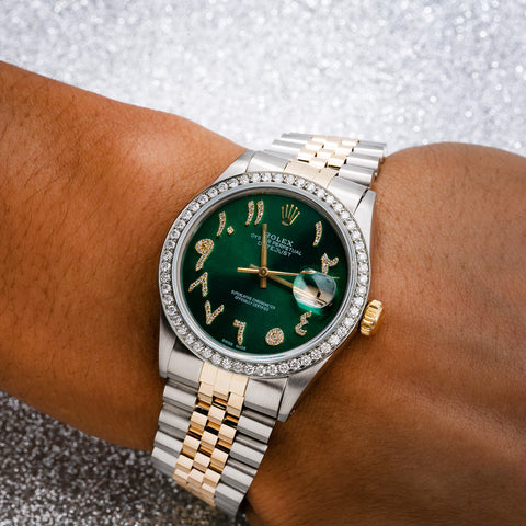 Rolex Datejust 16253 36MM Green Diamond Dial With 1.25 CT Diamonds