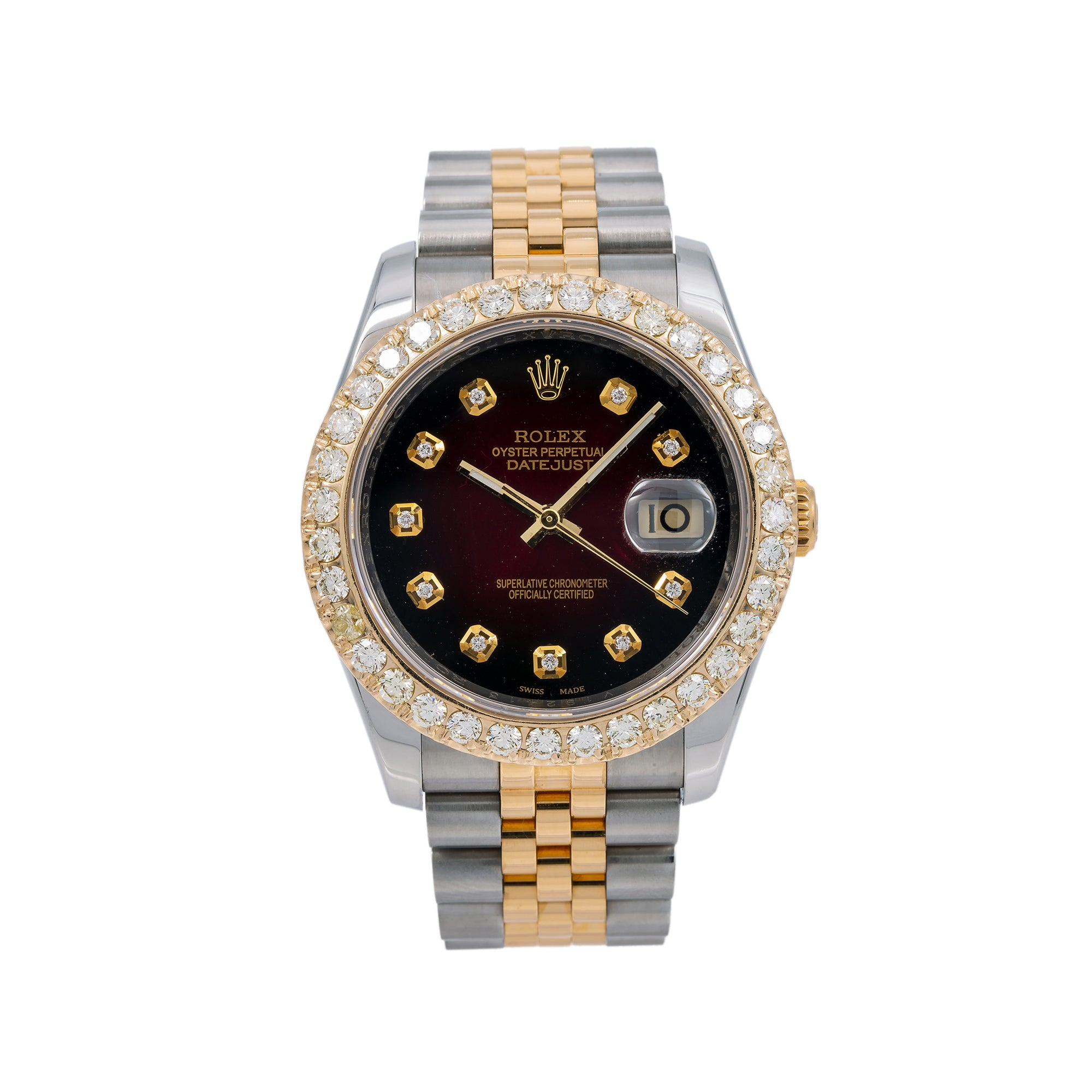 Rolex Datejust 116233 36MM Red Diamond Dial With 2.00 CT Diamonds