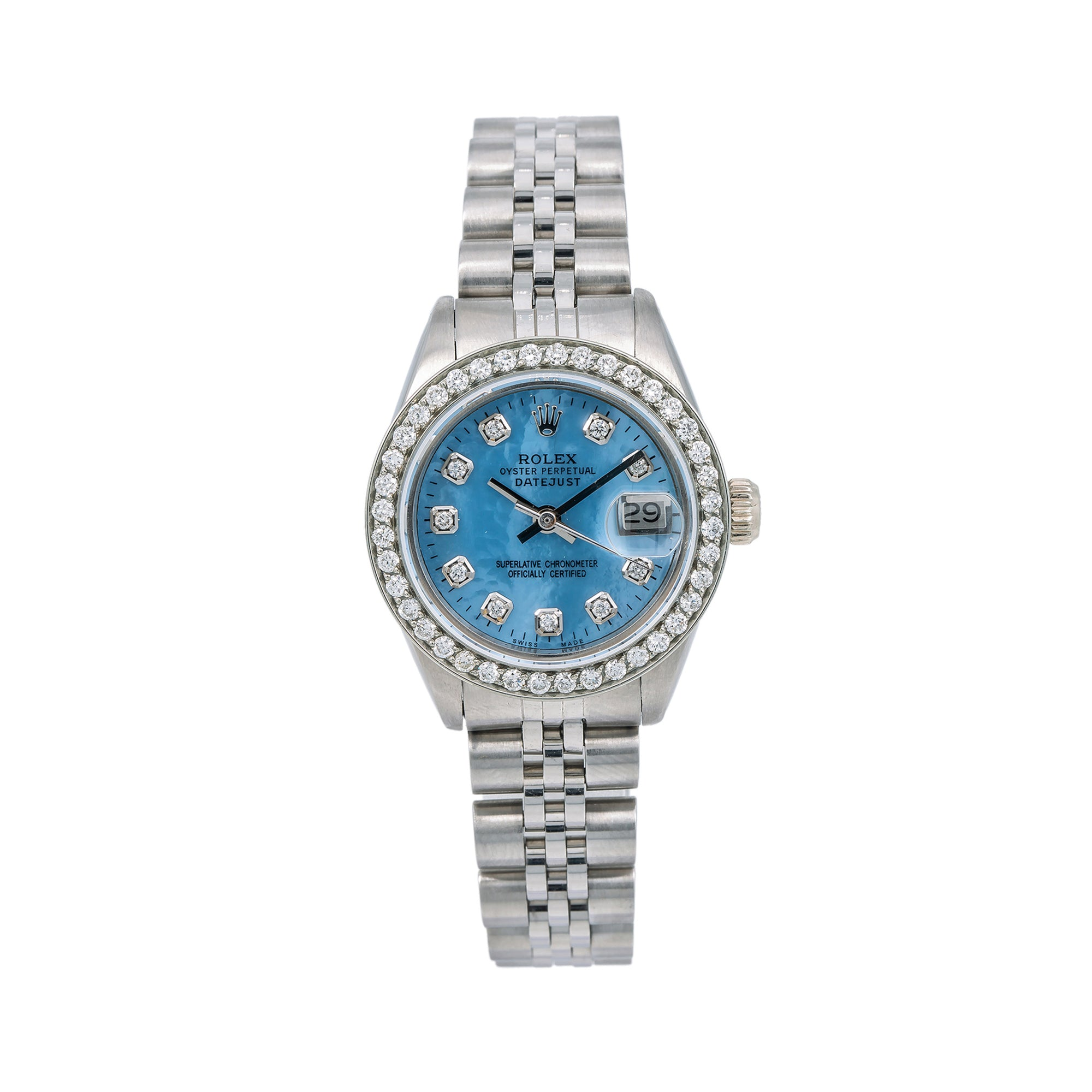 Rolex Lady-Datejust 6917 26MM Blue Diamond Dial With 1.80 CT Diamonds