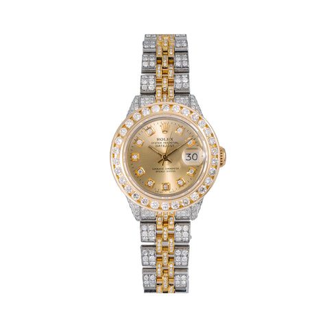 Two Tone Rolex Datejust Diamond Watch, 6917 26mm, Champagne Diamond Dial With Two Tone Bracelet