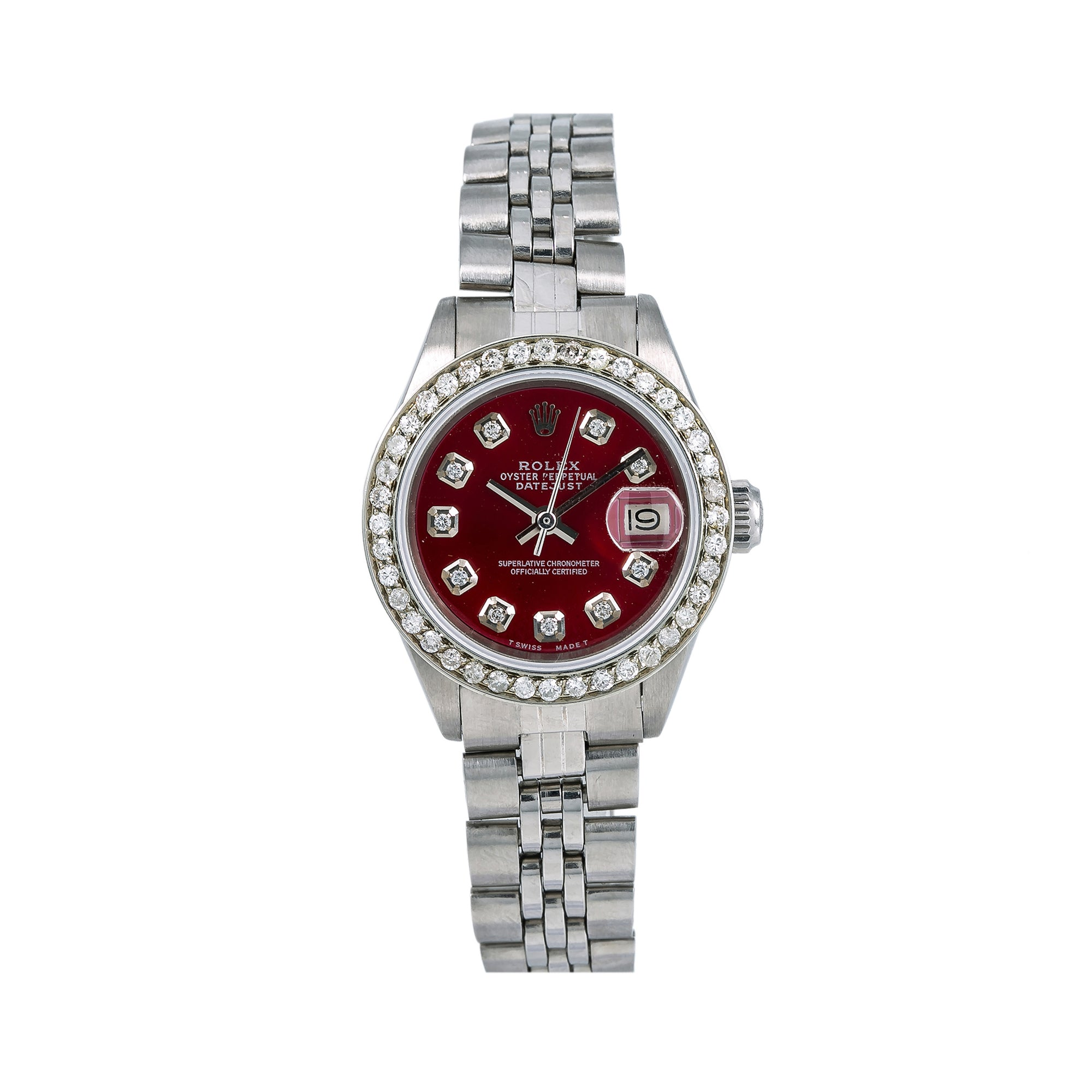 Rolex Lady-Datejust 6917 26MM Red Custom Diamond Dial With 1.3 CT Diamonds