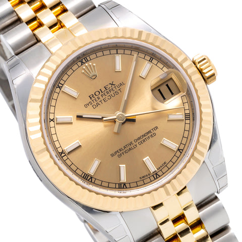 Two Tone Rolex DateJust 178273 31mm Champagne Dial with Index Hour Markers