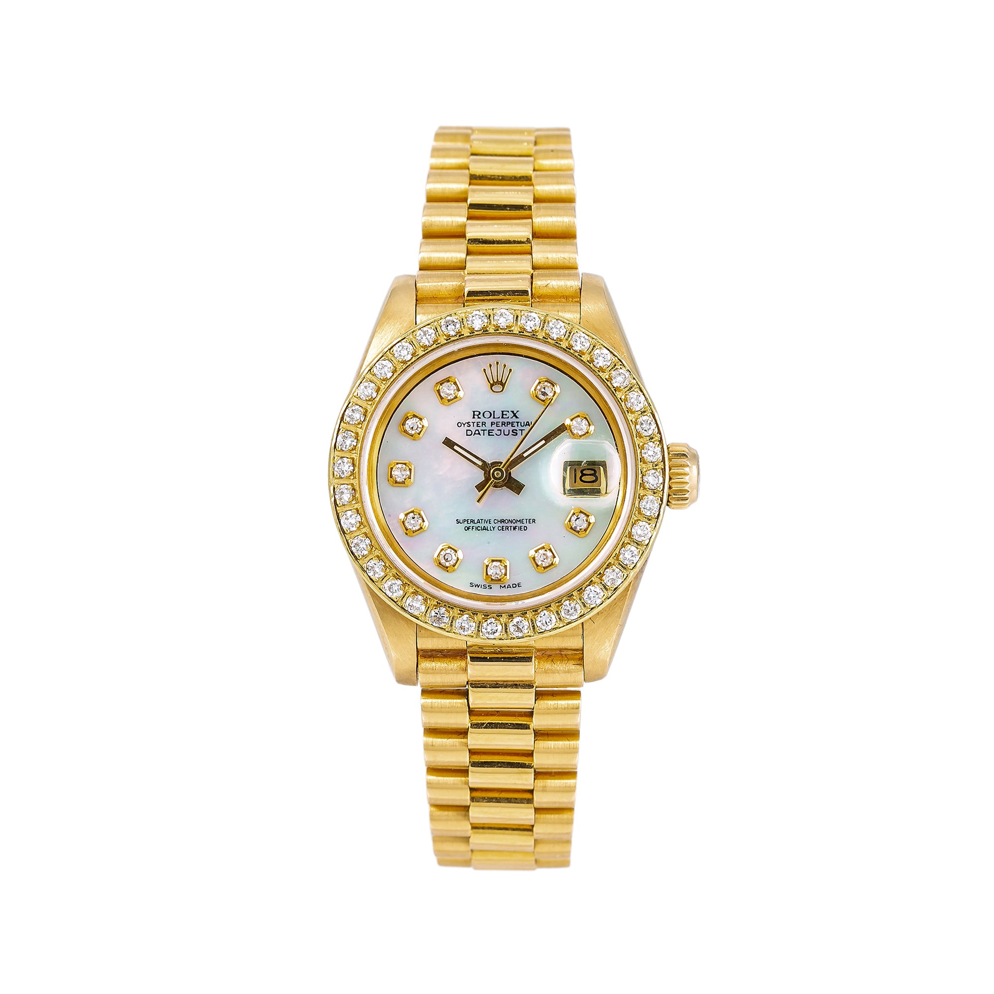 Rolex Lady-Datejust 69178 26MM Silver Mother of Pearl Diamond Dial With Yellow Gold President Bracelet