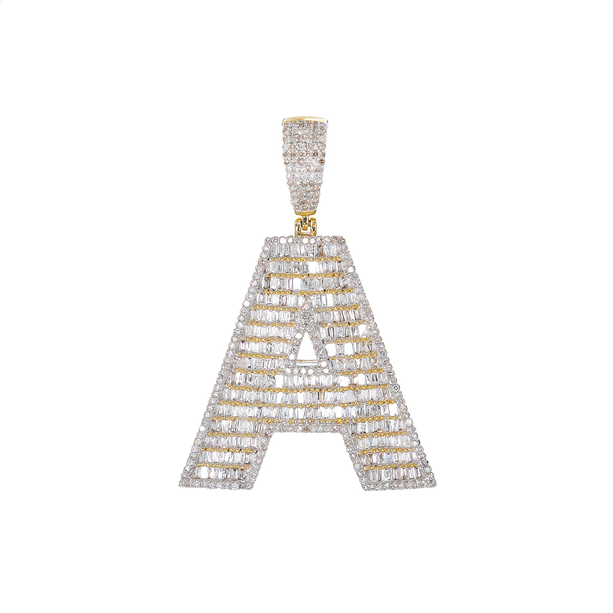 14K YELLOW GOLD UNISEX LETTER A WITH 2.01 CT DIAMONDS