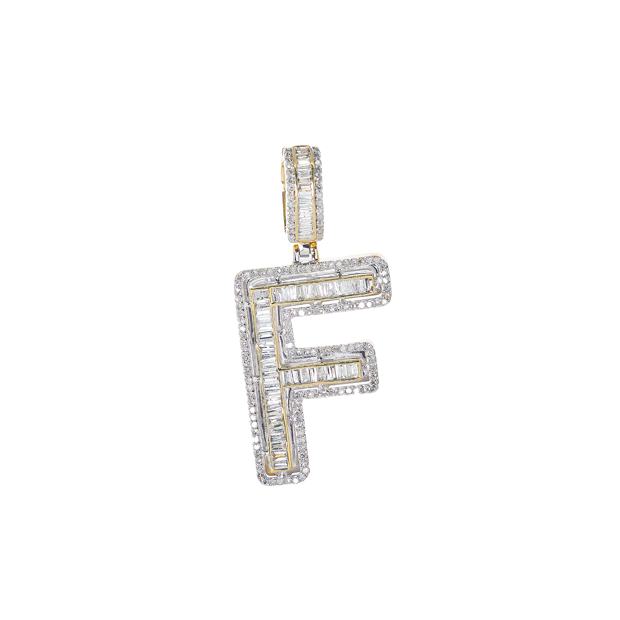 14K YELLOW GOLD UNISEX LETTER F WITH 0.94 CT DIAMONDS