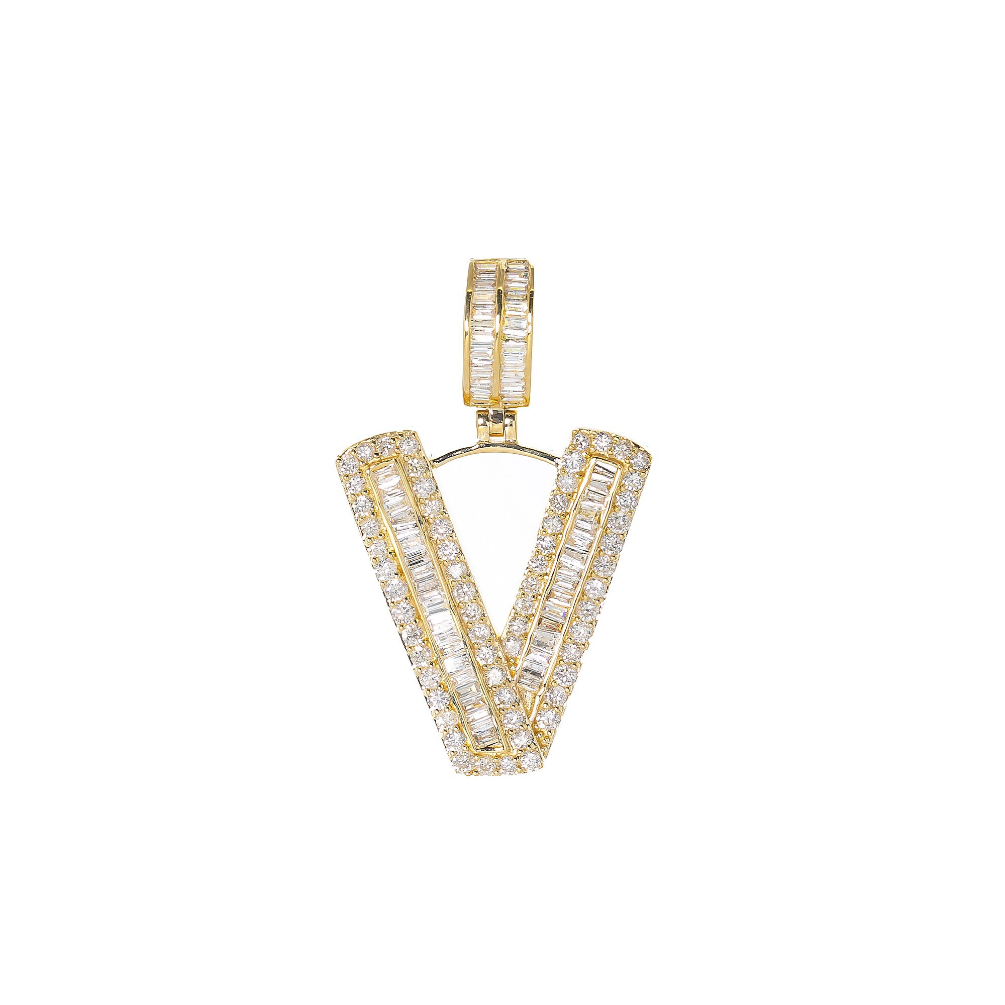 14K YELLOW GOLD UNISEX LETTER V WITH 2.25 CT DIAMONDS