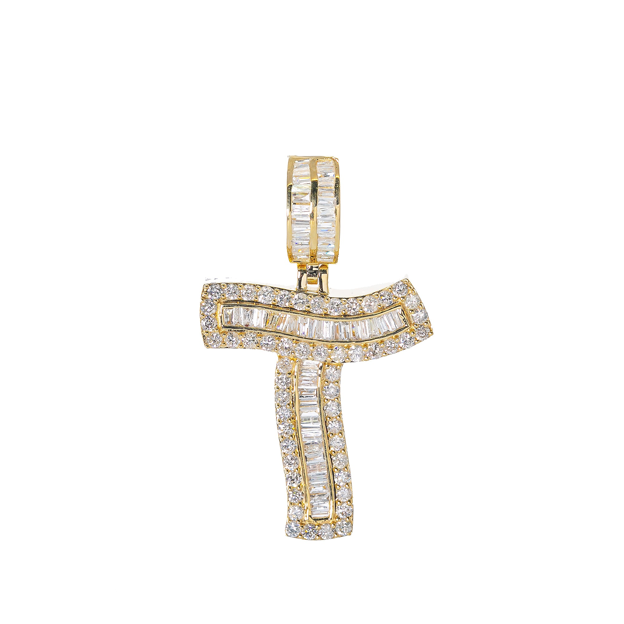 14K YELLOW GOLD UNISEX LETTER T WITH 1.77 CT DIAMONDS