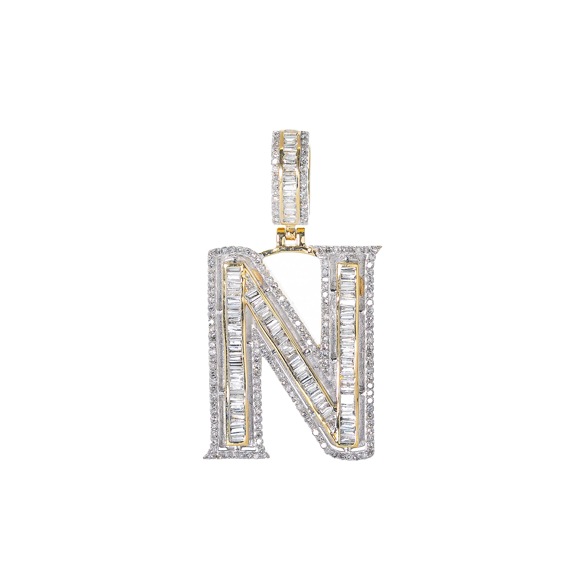 14K YELLOW GOLD UNISEX LETTER N WITH 1.22 CT DIAMONDS
