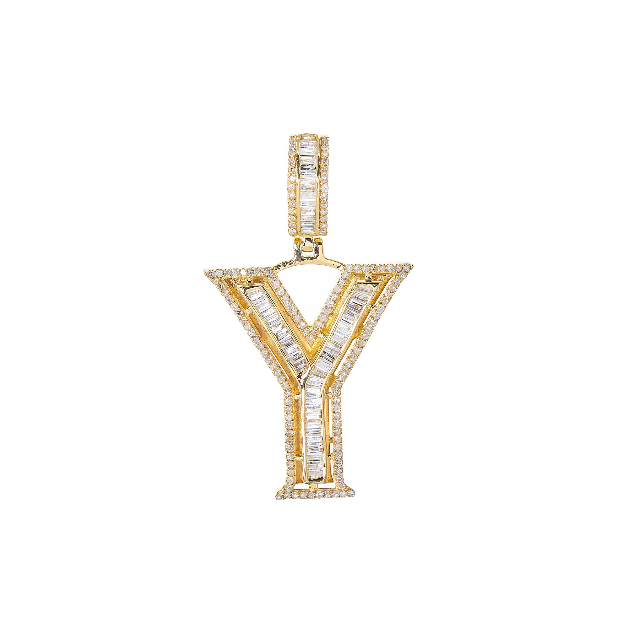 14K YELLOW GOLD UNISEX LETTER Y WITH 0.87 CT DIAMONDS