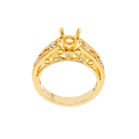 18K Yellow Gold Round Shaped  Ring