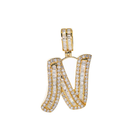 14K YELLOW GOLD UNISEX LETTER N WITH 2.57 CT DIAMONDS