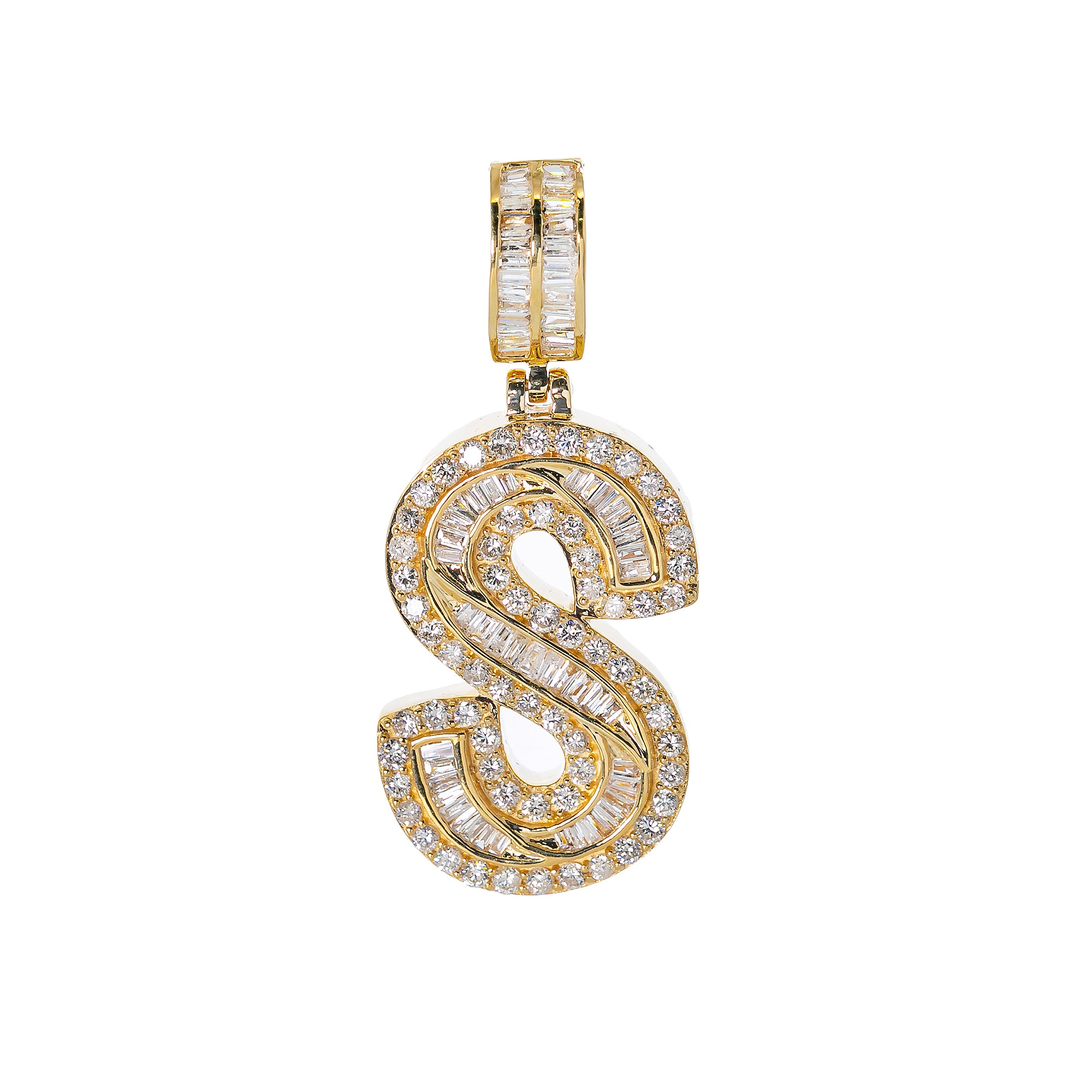 14K YELLOW GOLD UNISEX LETTER S WITH 2.57 CT DIAMONDS
