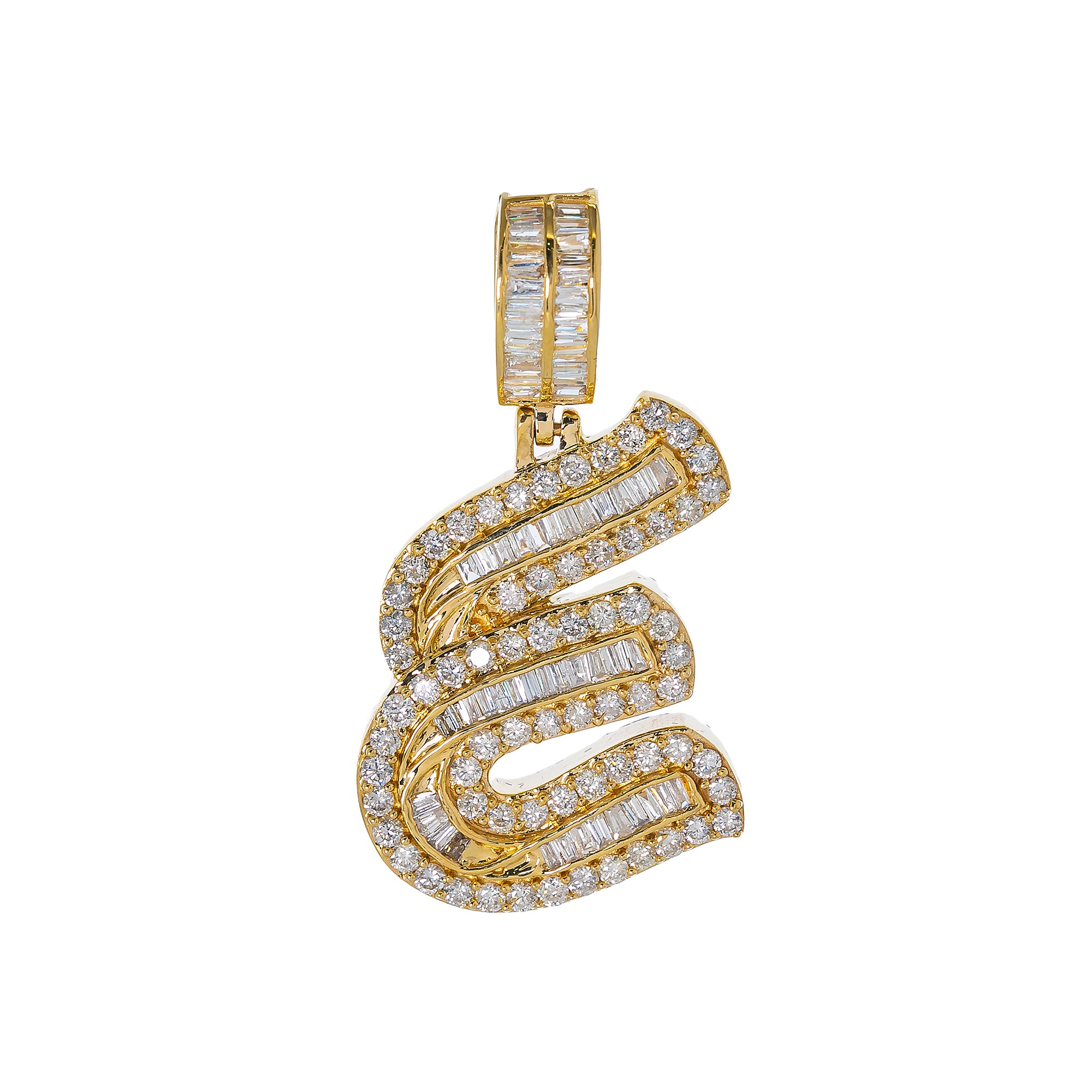 14K YELLOW GOLD UNISEX LETTER E WITH 2.01 CT DIAMONDS