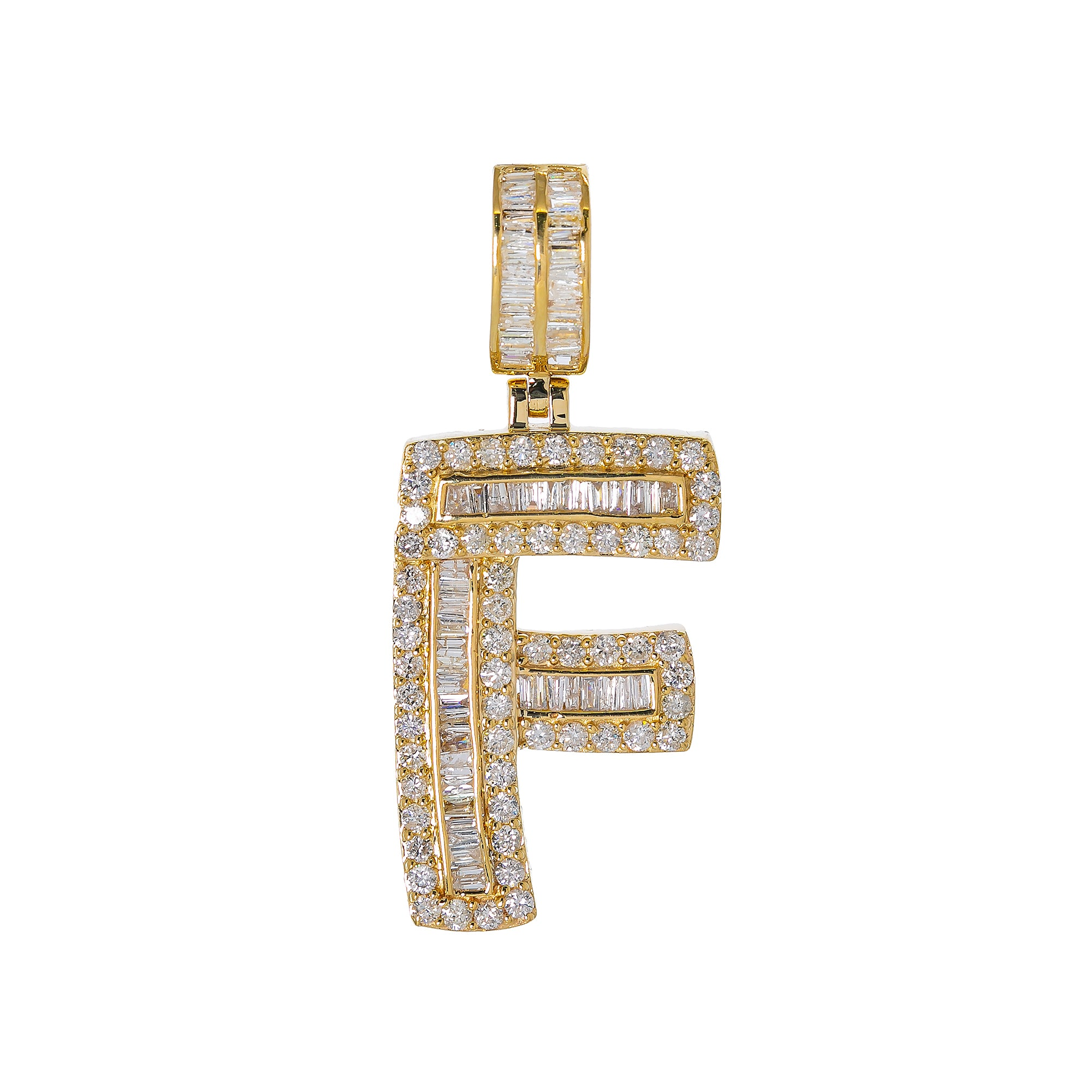 14K YELLOW GOLD UNISEX LETTER F WITH 1.97 CT DIAMONDS