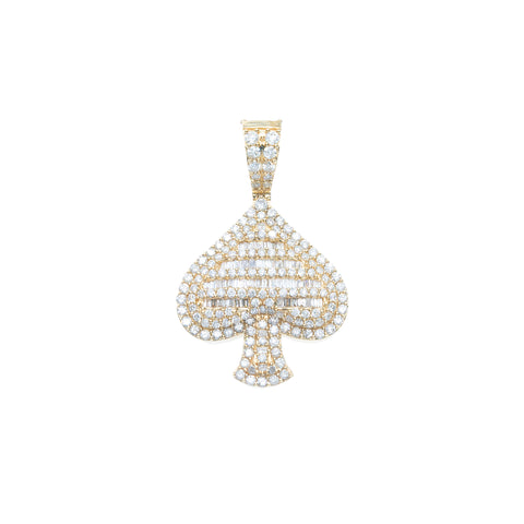 14K YELLOW GOLD UNISEX SPADE PENDANT WITH 1.56 CT DIAMONDS