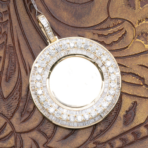 14K YELLOW GOLD UNISEX CIRCLE PENDANT WITH 4.86 CT DIAMONDS