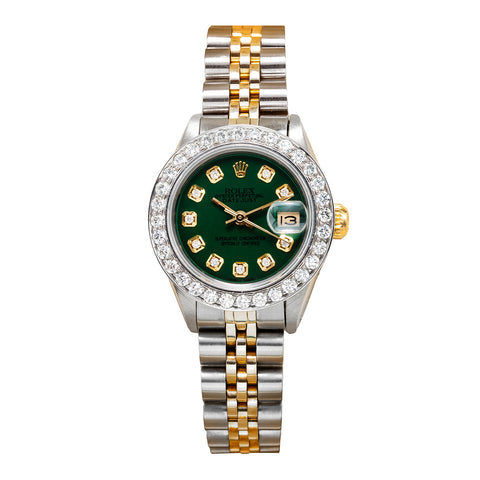 Rolex Datejust Two Tone Diamond Watch 26mm, Green Dial with 1.8CT Diamond Bezel