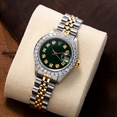 Rolex Datejust Two Tone Diamond Watch, 179173 26mm, Green Dial with 1.8CT Diamond Bezel