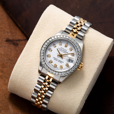Rolex Datejust Two Tone Diamond Watch, 6917 26mm, White Dial With 1.2CT Diamond Bezel