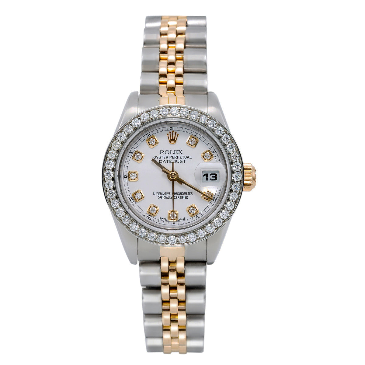 Two Tone Rolex Datejust 26mm White Dial With 1.2CT Diamond Bezel