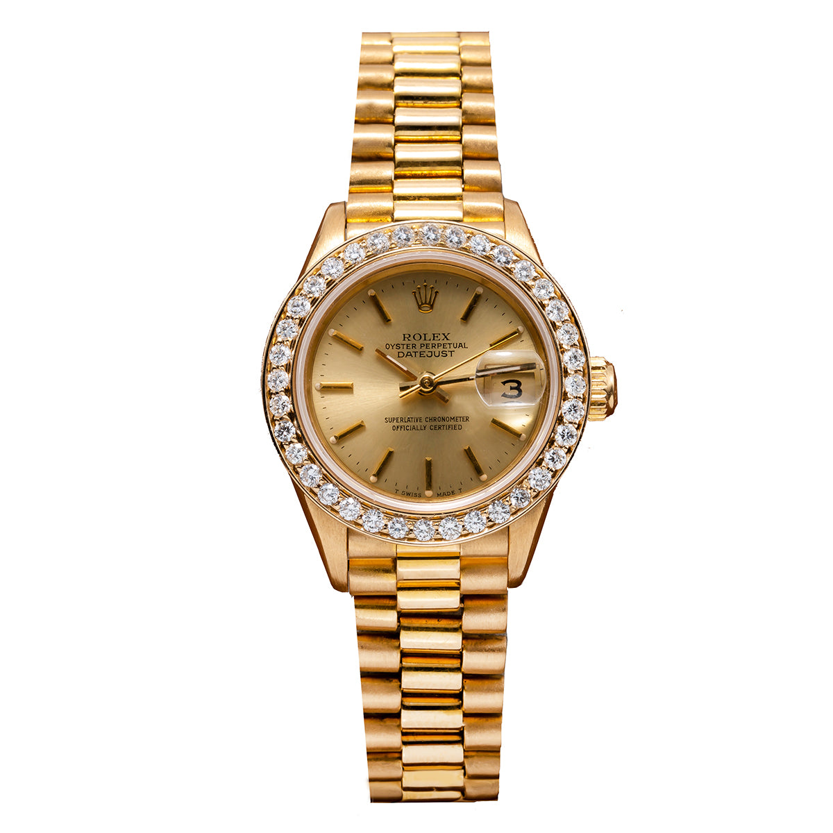 18K Yellow Gold Rolex Diamond Watch, Datejust President 69178, Champagne Dial With 0.80CT Diamond Bezel