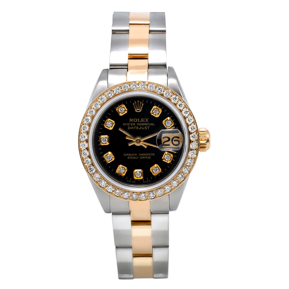 Rolex DateJust Two Tone Diamond Watch, 6917 26mm, Black Dial With 0.90Ct Diamond Bezel