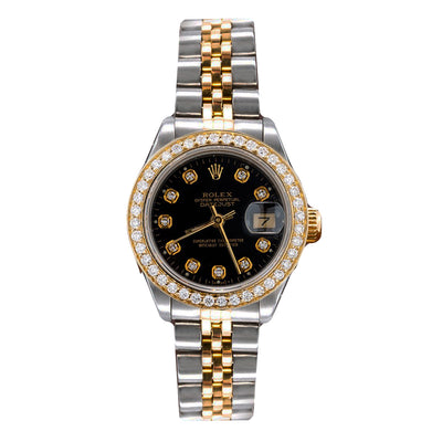3951ba6d06e3f Two Tone Rolex Datejust 69713 26mm Black Dial With 0.90CT Diamond Bezel