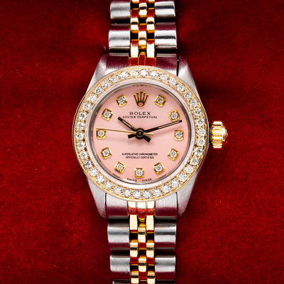 03d2ad02d1fdb Two Tone Rolex Oyster Perpetual 26mm Pink Dial With 0.90CT Diamond Bezel