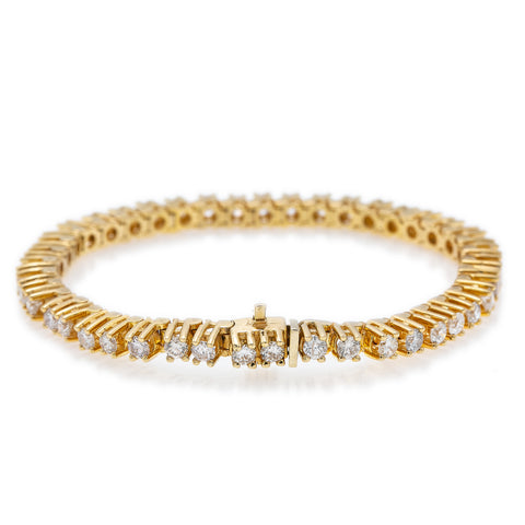 14K Yellow Gold Men's Tennis Bracelet With 8 CT Diamonds