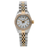 Two Tone Rolex Oyster Perpetual 26mm White Dial with 0.80CT Diamond Bezel