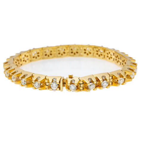 14K Yellow Gold Men's Tennis Bracelet With 9.50 CT Diamonds