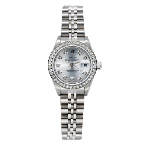 Rolex DateJust Diamond Watch, 69160 26mm, Silver Dial with 0.90CT Diamond Bezel
