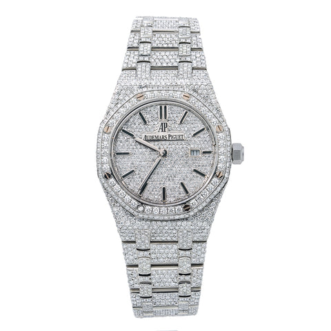 Audemars Piguet Royal Oak Lady 67651 33MM Silver Diamond Dial With Stainless Steel Bracelet