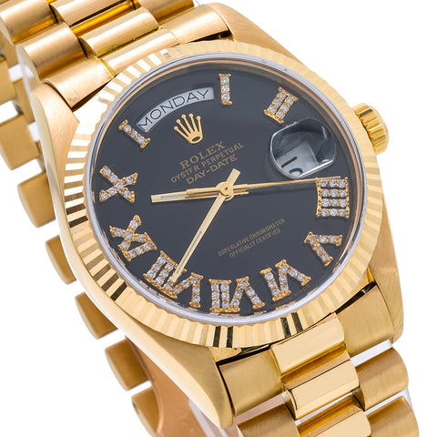 18K Yellow Gold Rolex President Day-Date 18038 36mm Black Dial with Roman Numerals