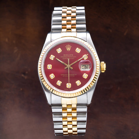 Two Tone Rolex Datejust 16013 36mm Red Dial