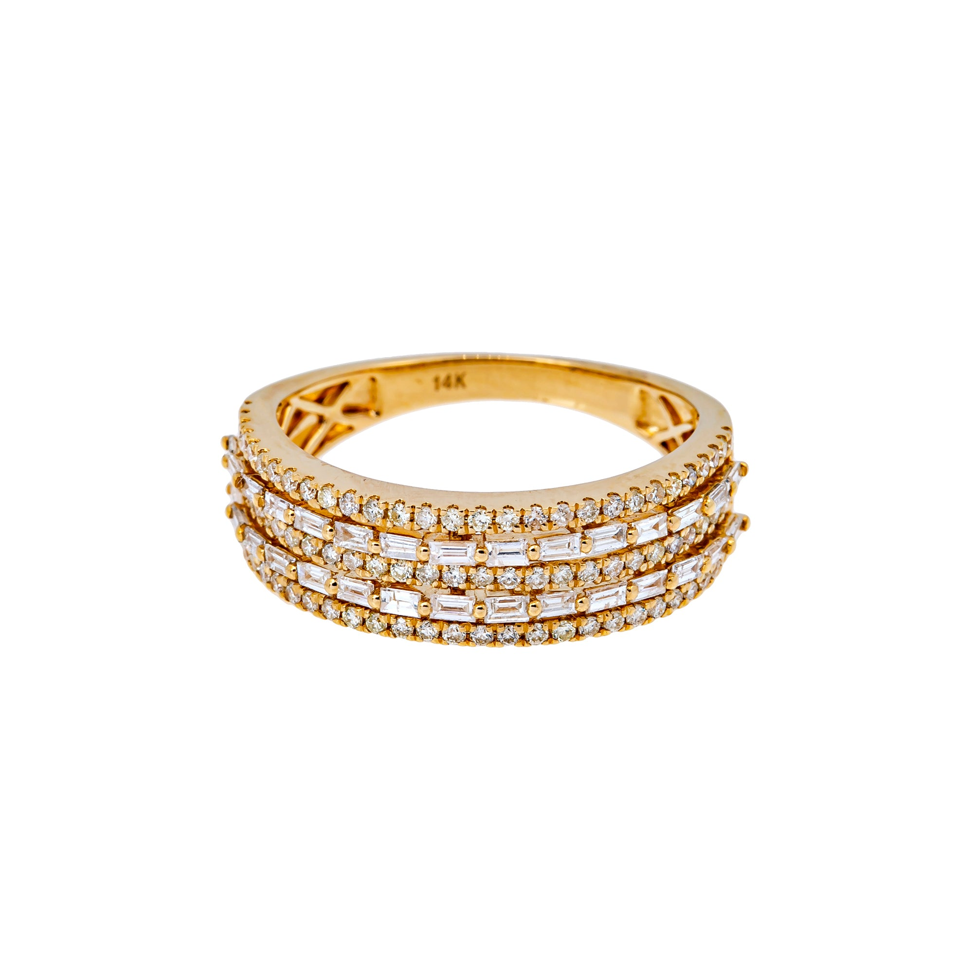 14K YELLOW GOLD MEN'S RING WITH 1.12 CT  DIAMONDS