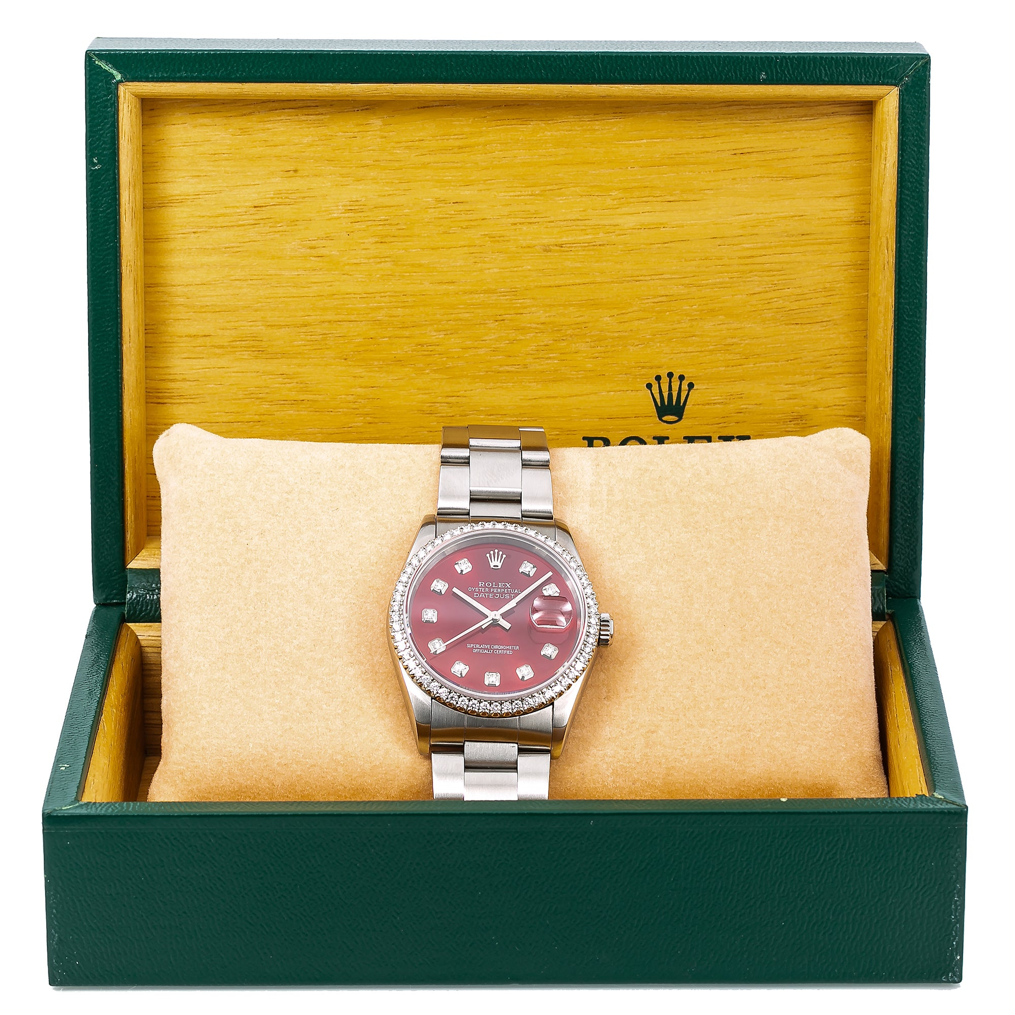 Rolex Datejust 16200 36MM Red Diamond Dial With Stainless Steel Oyster Bracelet