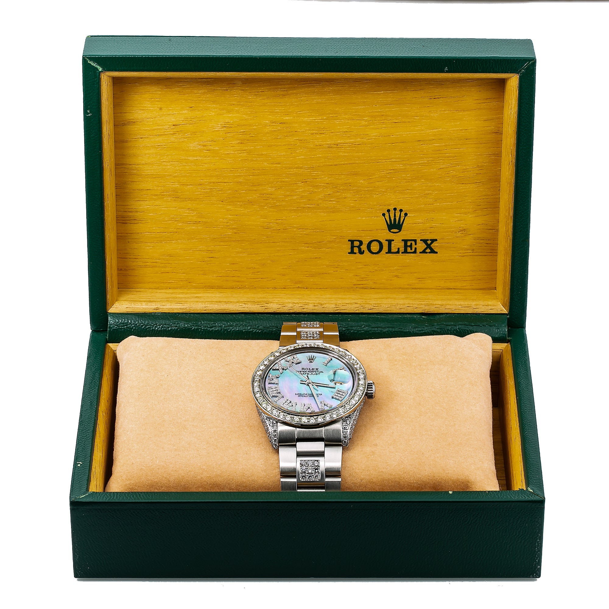 Rolex Datejust 1601 36MM Light Blue Mother of Pearl Diamond Dial With 6.75 CT Diamonds