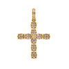 14K YELLOW GOLD UNISEX CROSS WITH 0.77 CT  DIAMONDS