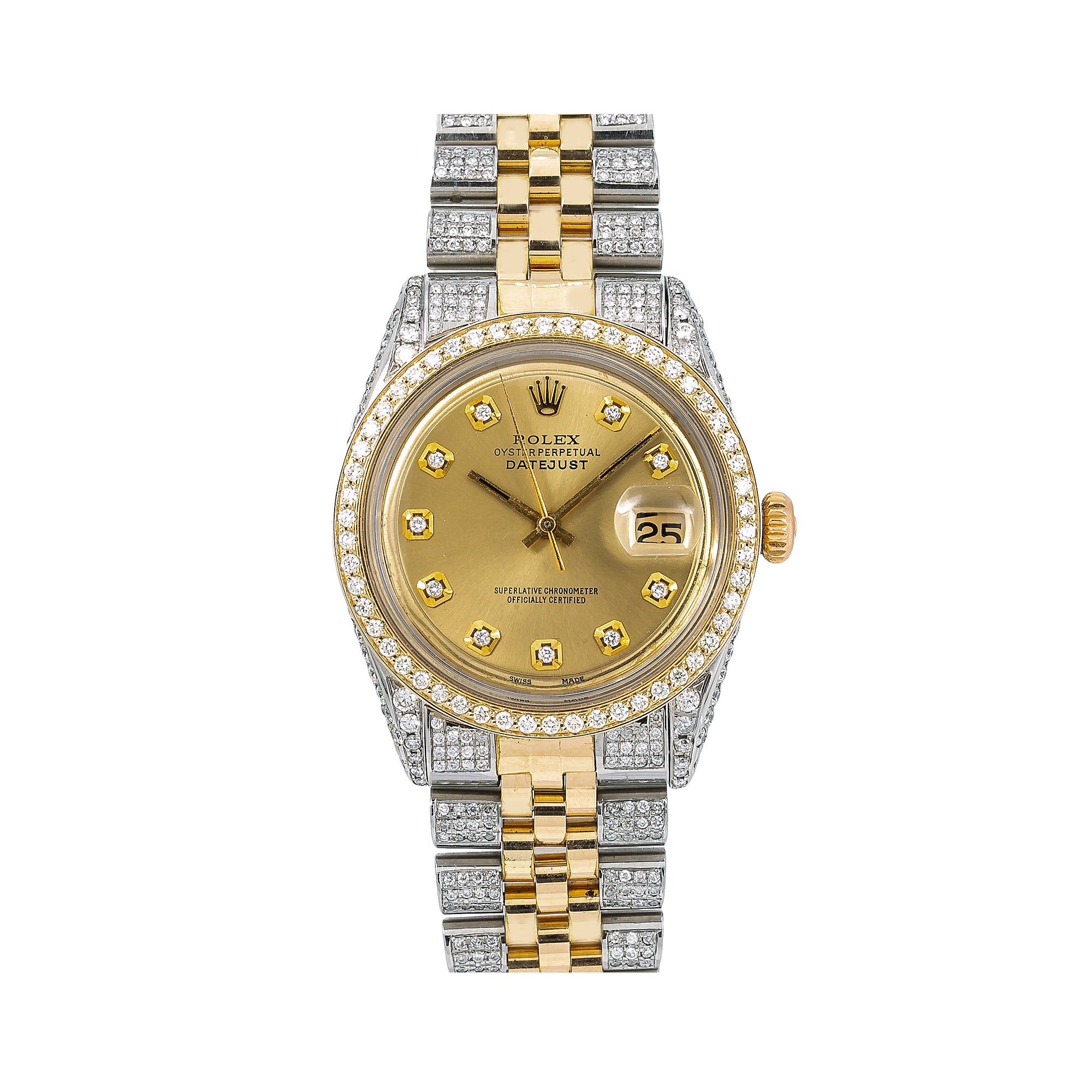 Rolex Oyster Perpetual Date 1500 34MM Champagne Diamond Dial With Two Tone Bracelet