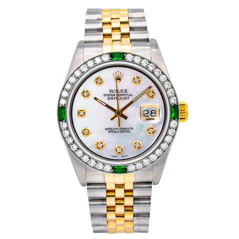 Rolex Datejust 16013 36MM White Mother of Pearl Dial With Two Tone Jubilee Bracelet