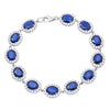 18K White Gold Diamond Bracelet with Round Shaped Sapphires