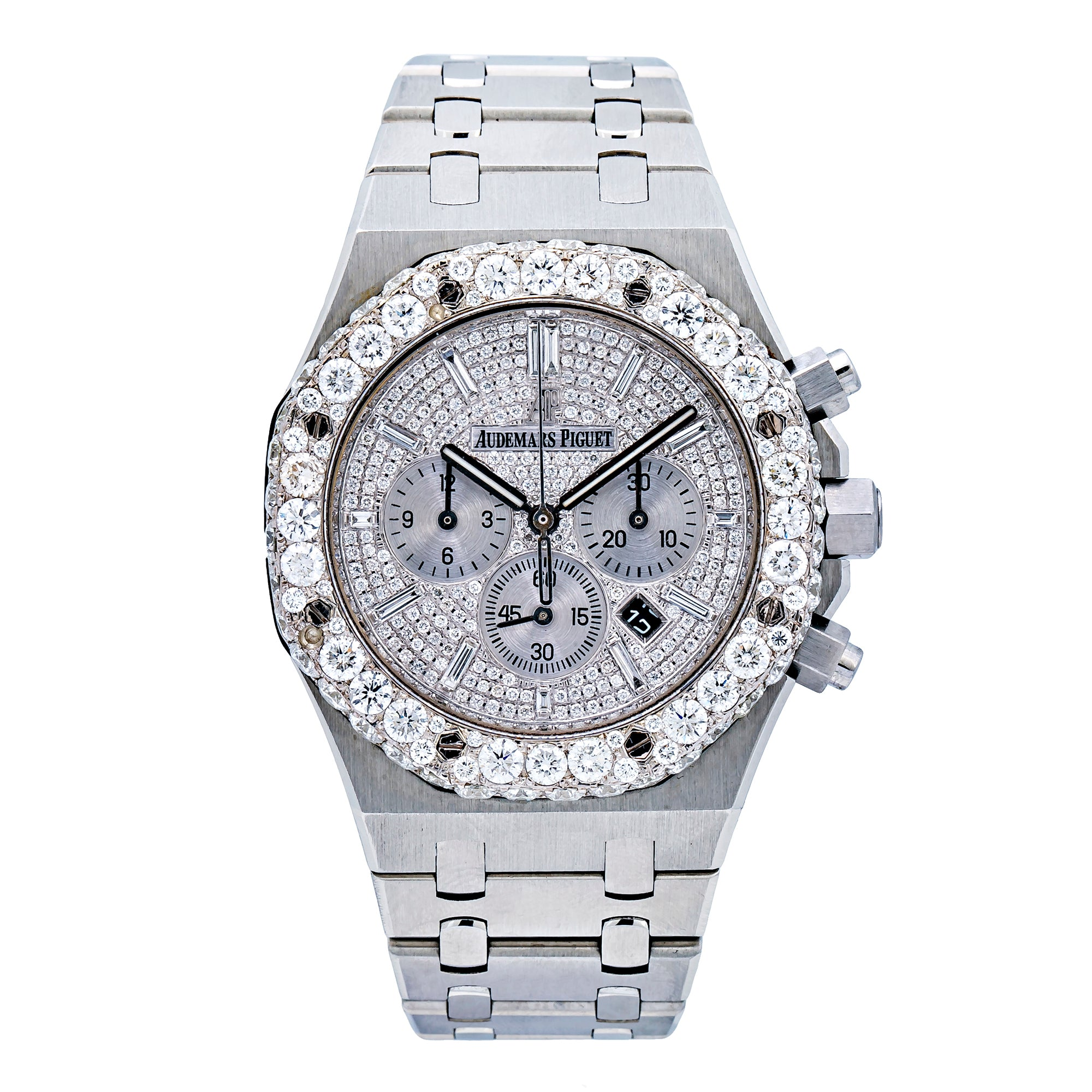 Audemars Piguet White Diamond Dial With Stainless Steel Bracelet