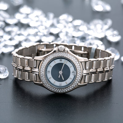 1528526daa2a3 18K White Gold Mauboussin Lady s Round NO140 26mm white and Blue Dial with Diamond  Bezel