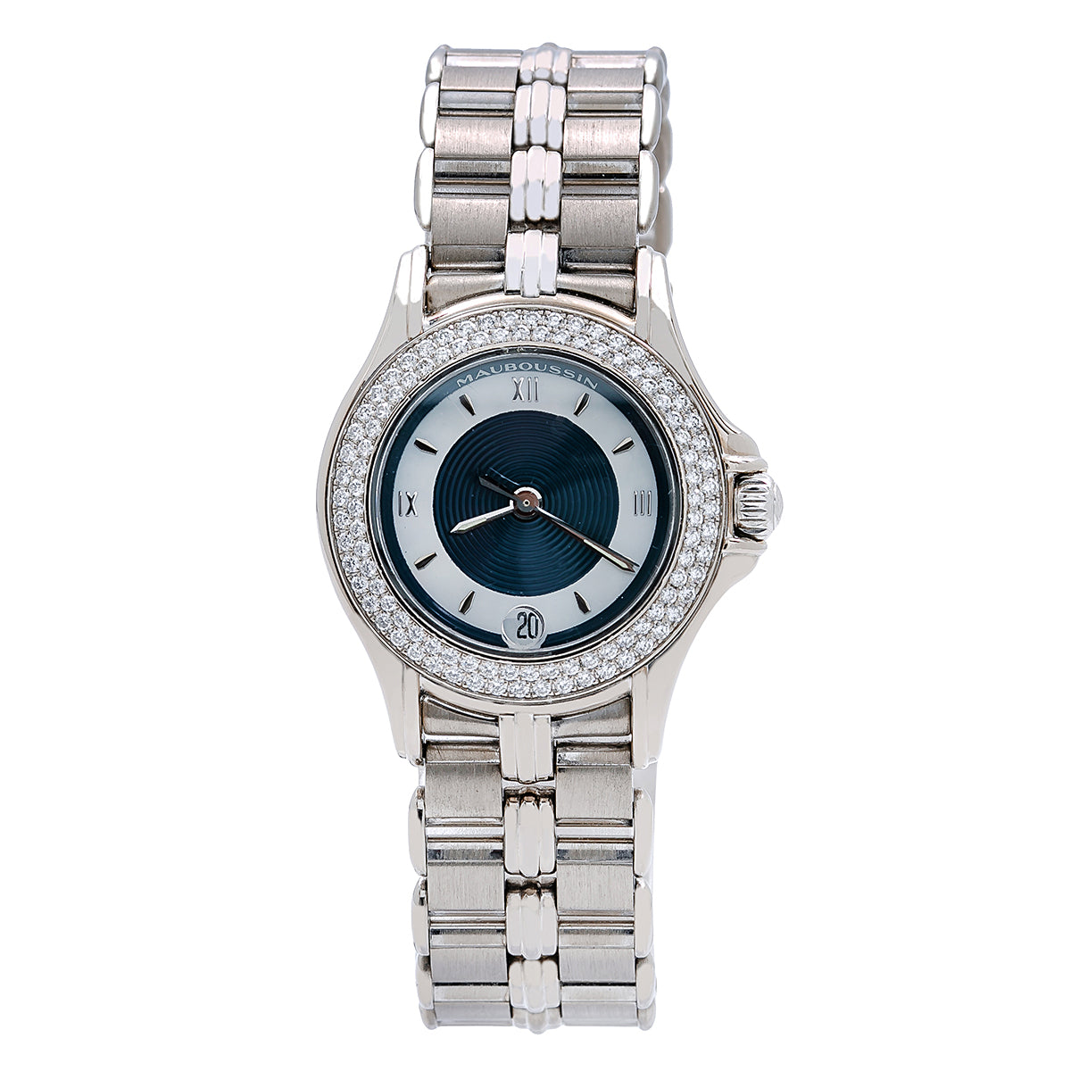 5f30f0438f469 18K White Gold Mauboussin Lady s Round NO140 26mm white and Blue Dial - OMI  Jewelry