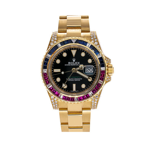 18K Yellow Gold Rolex GMT Master II 116718 40mm Black Dial with Multicolor Sapphires Bezel