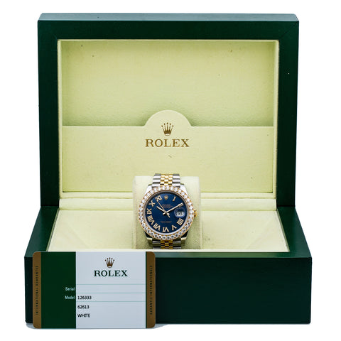Rolex Datejust 126333 41MM Blue Diamond Dial With Two Tone Jubilee Bracelet